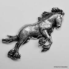 Shire Clydesdale Horse Pewter Pin Brooch -British Handmade- Horse Gift Present