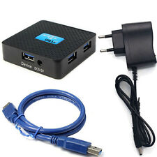 EU New HUB 5Gbps External USB 3.0 4 Ports Hub Adapter With Power Adapter For PC