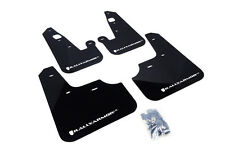 RallyArmor Black Mud Flaps (White Logo) for 07-17 Mitsubishi Lancer