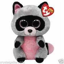 """TY Beanie Babies Boo's Rocco Racoon 6"""" Stuffed Collectible Plush Toy NEW"""