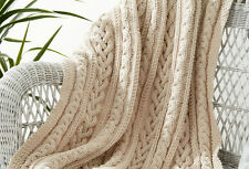 "KNITTING PATTERN - THREE BRAIDED CABLE KNIT AFGHAN/BLANKET/THROW APPROX 43""x 58"""