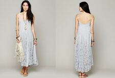 Free People fp One Victorian Lace Maxi Dress sky blue small M lace up sides