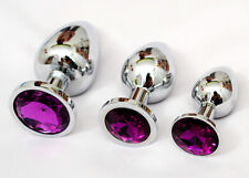 3x Butt Toy Plug Insert Anal Stainless Steel Crysrtal Sexy Stopper Deep Purple