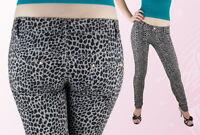 Damen Hose Röhrenhose Röhre Hüftig Grau Beige Leopardenmuster 36 38 40 42 44 *
