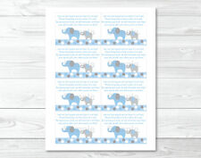 Blue and Grey Polka Dot Elephants Printable Baby Shower Book Request Cards