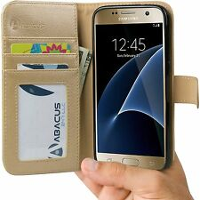 Gold PU Flip Wallet Cover Case for Samsung Galaxy S7 Phone