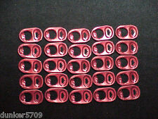 25 RED CROWN  BUDWEISER BEER CAN TABS POP TABS - FACTORY RED COLORING ALUMINUM