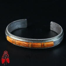 Orange spiny oyster shell inlay bracelet sterling silver Vintage Native pawn