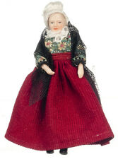 Dollhouse Miniature Doll - Grandma Victorian Porcelain Black Shawl 1:12 Scale