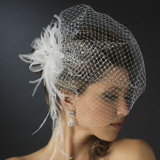 Jeweled Rhinestone Feather Fascinator Russian Bird Cage Veil in White or Ivory