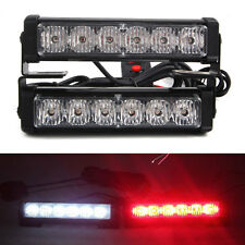 2in1 12V 6LED Blue&Red Car Front Grille Emergency Strobe Light Beacon Strobe Kit