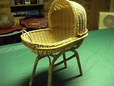 Large Cane DOLLS Bed/Bassinet/ Basket with Stand - PU Rowville or Box Hill