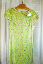 NWT Talbots 100% Silk DRESS & Corsage SZ 8 Green w/ Pink Flowers Ret $138 SPRING