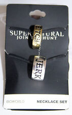 Supernatural Bitch Jerk Ring Necklace Pendant Set BFF Bestie Best Friends 2 PK