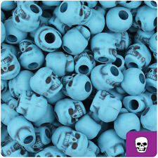 150 Dark Turquoise Antique 11mm Halloween Skull Pony Beads Made in the USA