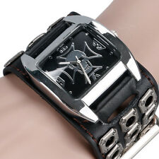 Cool Cuff Punk Skull Stylish Quartz Special Design Leather Strap Men Wrist Watch