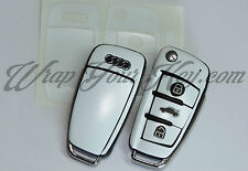 White Satin Key Wrap Cover Case Skin Audi Remote A1 A3 A4 A5 A6 A8 TT Q3 Q5 Q7
