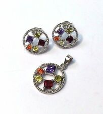 Cute! Multi Colored CZ Crystal Sterling Silver 925 Earring and Pendant Set