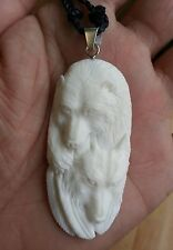 Bear & Wolf In Buffalo Bone Hand Carved Pendant Silver Bale Necklace