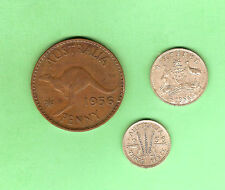 1956  AUSTRALIAN COINS -  SIXPENCE, THREEPENCE & PENNY
