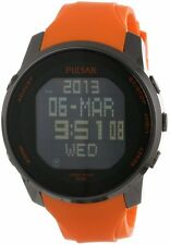 Pulsar By Seiko PQ2013 Digital Orange Rubber Strap Sport Men's Watch
