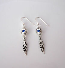 925 Sterling silver blue crystal feather dangle earrings