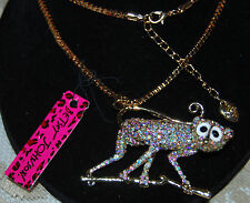 BETSEY JOHNSON GORGEOUS AURORA BORIEALIS CRYSTAL MONKEY ON A BRANCH NECKLACE