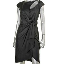 CATHERINE MALANDRINO ~ NEW $715 BLACK FAUX WRAP CUT-OUT COCKTAIL DRESS 4 NWT