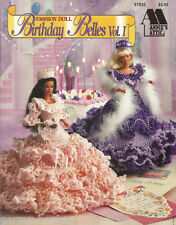 Birthday Belles #1 Annie's Attic Crochet Barbie Fashion Doll Dress Patterns NEW