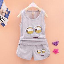 2pcs Lovely Cotton Kids Baby Boy/Girl Minion Shirt+Shorts Set Outfits Clothing