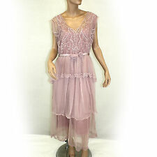 NEW NWT Nataya Plus Size Vintage Titanic Tea Party Rose Pink Dress Slip Set 1X