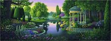 "Gazebo Beautiful Park Garden Scene Lake Swan Large Tapestry 74"" x 28"""