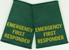 Woven Emergency First Responder Epaulette Slider Pair Green Epaulettes