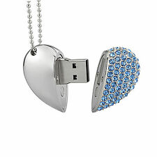 Crystal Heart Model Necklace 8GB USB 2.0 Flash Pen Drive Flash Memory Stick