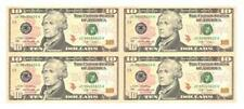 USA UNCUT 2x2 TEN DOLLARS US$10 banknote (UNC) 10美元4连体钞横版