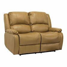 "RecPro™ Charles 58"" Double RV Zero Wall Hugger Recliner Sofa Loveseat Toffee"