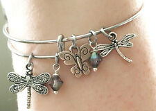 Dragonfly Butterfly Nature Swarovski Crystal Silver Charm Wire Bangle Bracelet