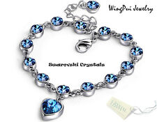 Made with Swarovski Heart Sapphire Blue Round Crystal 18K Gold Plated Bracelet