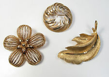 Vintage Lot of 3 Designer Signed Pin Brooches BSK Trifari Monet Flower Leaf Vtg