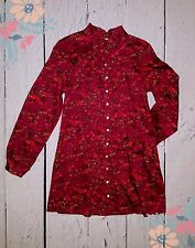 Tulle Los Angeles Vintage Style Boho High Collar Retro Red Floral Shirt Dress S