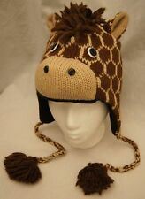deLux GIRAFFE HAT knit FLEECE LINED human cap ADULT mens womens animal costume