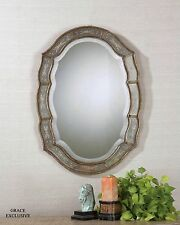 Shaped Victorian Venetian Etched Frameless Wall Mirror Antique