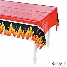 """FIREFIGHTER PARTY TABLECOVER 54"""" x 108"""" firemen NEW flames"""