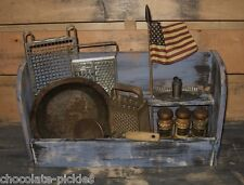 Wood Table/Wall Bowl/Spoon Holder*BLUE*Spice Rack*Primitive/French Country Decor