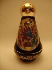 Orthodox & Catholic Gold Rare Ceramic Holy Trinity Icon & POPE Holy Water Bottle