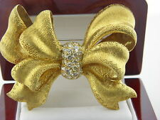 Estate Vintage  Large18k Solid Gold Diamond 2.7 TCW BOW Pin Brooch  Heavy 36.9Gr