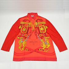 Authentic Hermes Silk Scarf Shirt Tops Long Sleeve Brides De Gala Red M Italy
