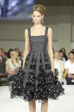 Oscar de la Renta NEW $8K Black Polka Dot Organza 3-D Detail Dress Gown US 8 S/M