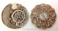 Beautiful Hand Carved Old Chinese White Jade Gift-Set: Zodiac Wheel Fish Tablet