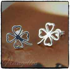 925 Sterling Silver 4 Leaf Clover Shamrock  Butterfly Stud Earrings Lucky Gift
